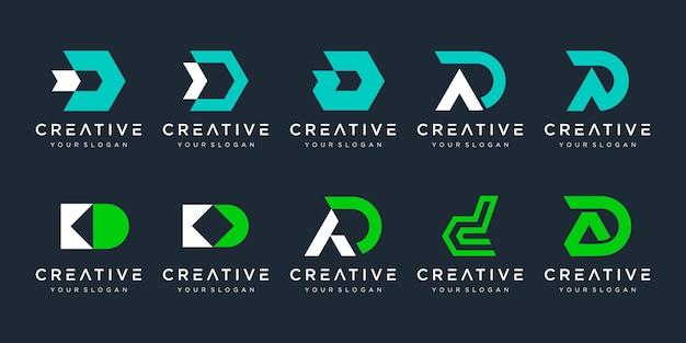 Zestaw kreatywnych ikon szablonu projektu logo litery d dla biznesu sportu finansów simple