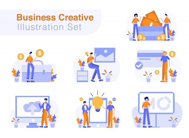Zestaw kreatywnych ilustracji biznesowych