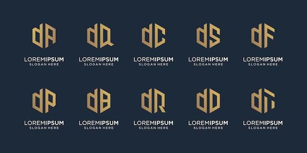 Zestaw kreatywnych ilustracji monogram litery d i losowo. ikona dla biznesu, równowaga.