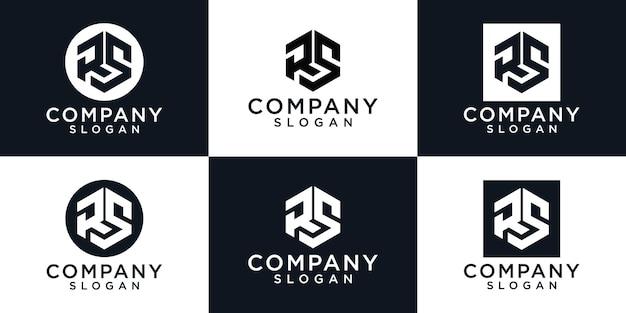Zestaw kreatywnych inicjałów list logo projekt