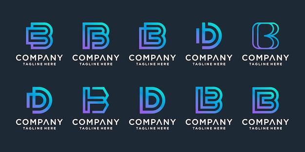 Zestaw kreatywnych inspiracji logo litery b. dla biznesu luksusowego, eleganckiego, prostego.