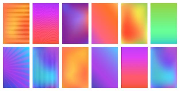 Zestaw kreatywnych jasnych, żywych gradientów dla każdego nowoczesnego. zaproszenie, karta z pozdrow, ulotka, baner.