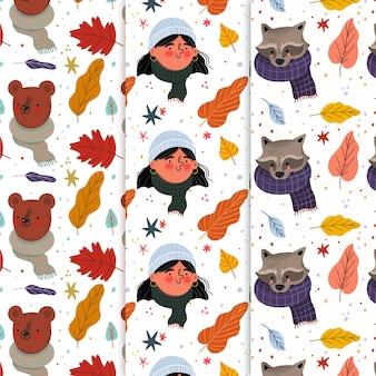 Zestaw kreatywnych jesiennych wzorów