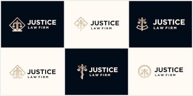 Zestaw kreatywnych kancelarii prawnych prosta linia projektowania logo vintage
