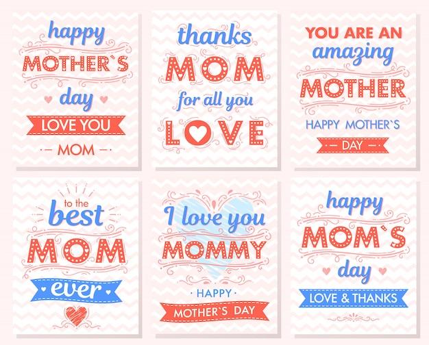 Zestaw kreatywnych kart na dzień matki. ręcznie rysowane napis z serca, chmur, tła zygzakowatego, uściski i pocałunki, wstążki. kartki okolicznościowe sezon idealne na wydruki, ulotki, banery, zaproszenia.