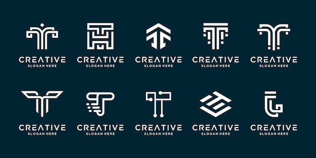 Zestaw kreatywnych kolekcji litera t szablon projektu logo.