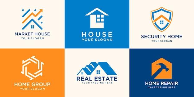 Zestaw kreatywnych kolekcji logo domu połączony młotek, element tarczy, abstrakcyjne budynki.