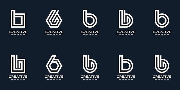 Zestaw kreatywnych kolekcji logo litera b
