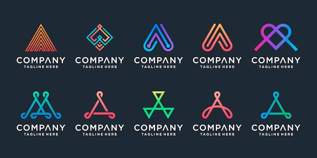 Zestaw kreatywnych kolekcji logo litery a.