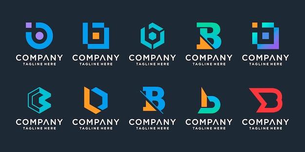 Zestaw kreatywnych kolekcji logo litery b, dla biznesu technologii, cyfrowych, danych, sportu, proste.