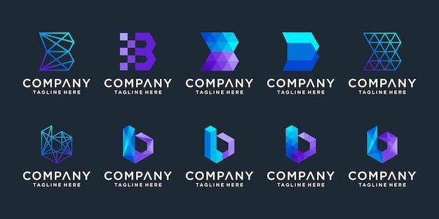 Zestaw kreatywnych kolekcji logo litery b.