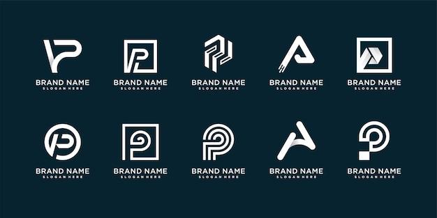 Zestaw kreatywnych kolekcji logo z początkowym p premium vector