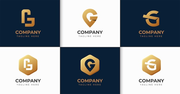 Zestaw kreatywnych kolekcji szablonów logo litery g