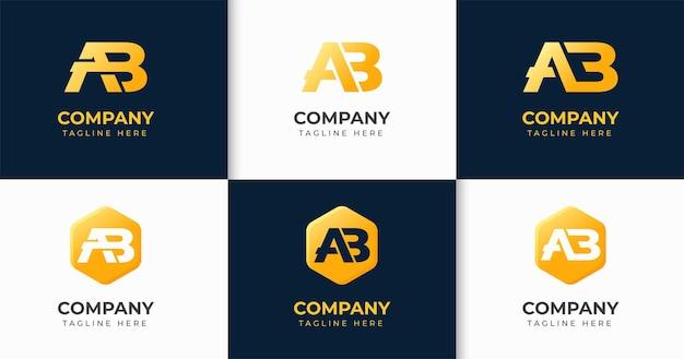 Zestaw kreatywnych kolekcji szablonów projektu logo litery b