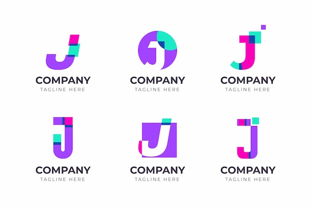Zestaw kreatywnych kolekcji szablonów projektu logo litery j