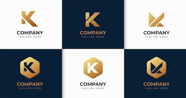 Zestaw kreatywnych kolekcji szablonów projektu logo litery k