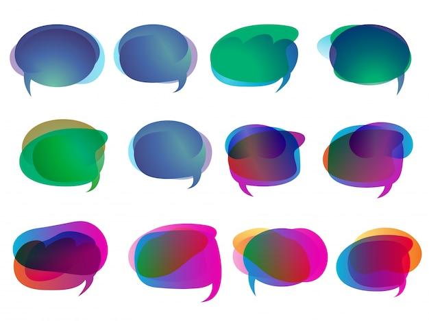 Zestaw kreatywnych kolorowych komiksów mowy lub projektowania pop-artu.