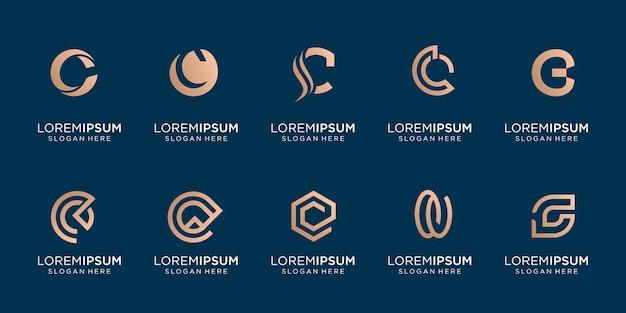 Zestaw kreatywnych list c kolekcji złoty kolor projektu. inspiracja logo, monogram, abstrakcyjny, nowoczesny.