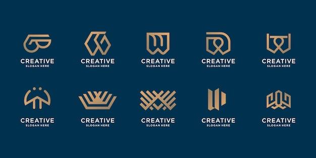 Zestaw kreatywnych list w monogram projekt. logo inspiracji dla firmy biznesowej, tożsamości, firmy.