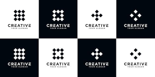 Zestaw kreatywnych list x monogram logo streszczenie szablon projektu
