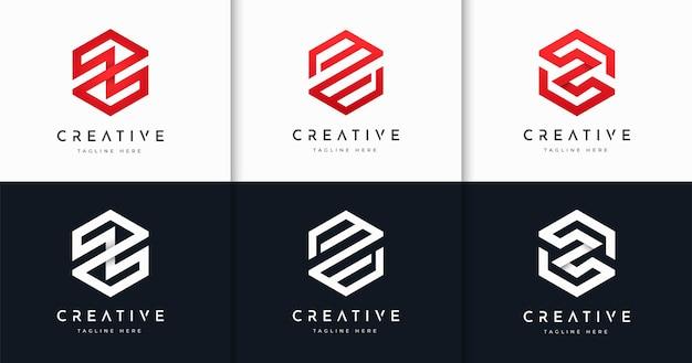 Zestaw kreatywnych listów monogram szablon projektu logo w stylu sześciokąta