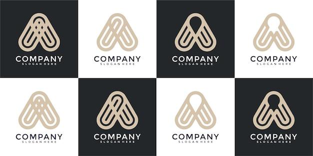 Zestaw kreatywnych listów monogram szablon projektu logo
