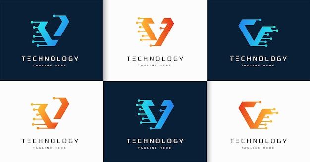 Zestaw kreatywnych listów monogram technologii styl szablon projektu logo