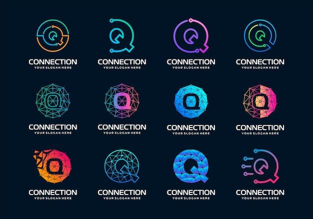 Zestaw kreatywnych listów q nowoczesna technologia cyfrowa logo design