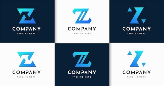 Zestaw kreatywnych listów w stylu monogramu szablon projektu logo