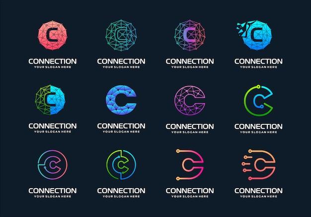 Zestaw kreatywnych liter c projektowanie logo nowoczesnej technologii cyfrowej. logo może być używane do technologii, cyfrowych, połączeń, firmy elektrycznej.