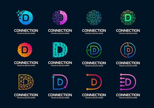 Zestaw kreatywnych liter d projektowanie logo nowoczesnej technologii cyfrowej. logo może być używane do technologii, cyfrowych, połączeń, firmy elektrycznej.