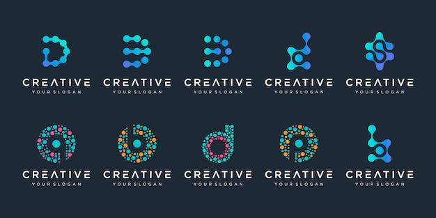 Zestaw kreatywnych liter dib logo w stylu kropki. uniwersalny kolorowy biotechnologii atom cząsteczki symbol chip dna. to logo nadaje się do badań, nauki, medycyny, logotypu, technologii, laboratorium,