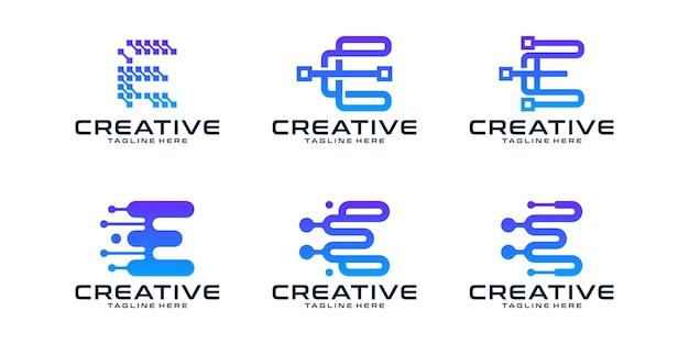 Zestaw kreatywnych liter e logo nowoczesnej technologii cyfrowej