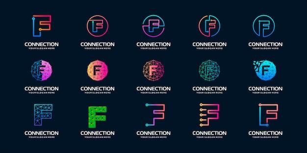 Zestaw kreatywnych liter f logo nowoczesnej technologii cyfrowej. logo może być używane do technologii, technologii cyfrowej, łączności, firmy elektrycznej.