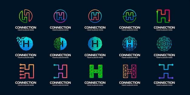 Zestaw kreatywnych liter h logo nowoczesnej technologii cyfrowej. logo może być używane do technologii, technologii cyfrowej, łączności, firmy elektrycznej.