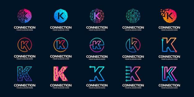 Zestaw kreatywnych liter k logo nowoczesnej technologii cyfrowej. logo może być używane do technologii, technologii cyfrowej, łączności, firmy elektrycznej.