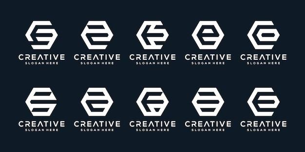 Zestaw kreatywnych liter logo e w stylu sześciokąta