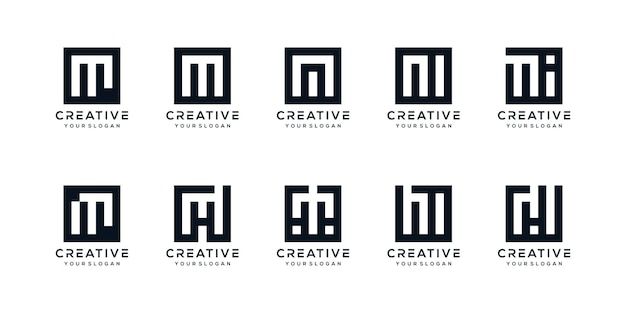 Zestaw kreatywnych liter m logo z kwadratowym stylem