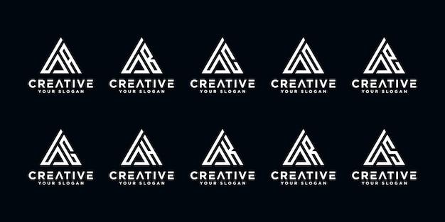 Zestaw kreatywnych liter monogram logo streszczenie szablonu projektu