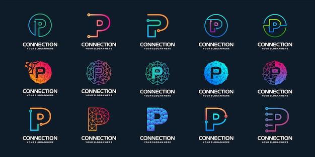 Zestaw kreatywnych liter p logo nowoczesnej technologii cyfrowej. logo może być używane do technologii, technologii cyfrowej, łączności, firmy elektrycznej.