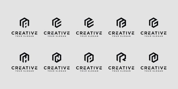 Zestaw kreatywnych liter r i itp. z inspiracją do projektowania logo sześciokąta.