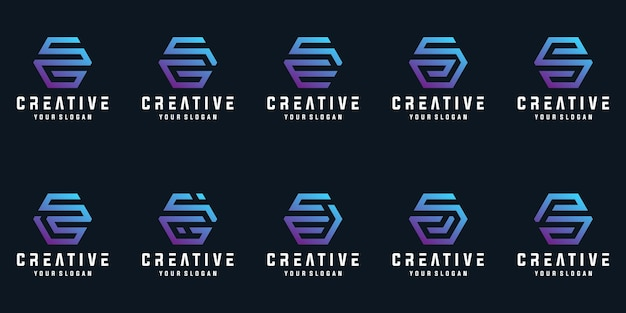 Zestaw kreatywnych liter sz kolekcji projektu logo sześciokąt