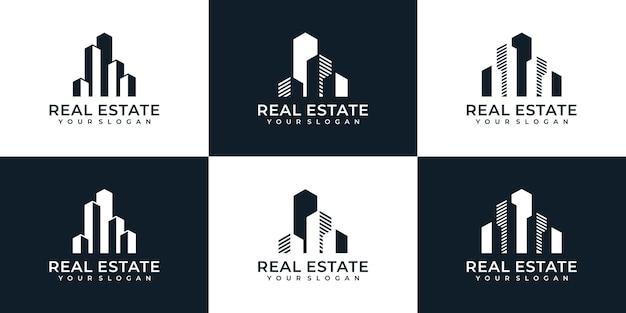 Zestaw kreatywnych logo budowy nieruchomości mieszkalnych