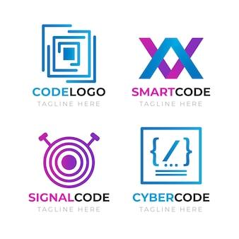 Zestaw kreatywnych logo kodu