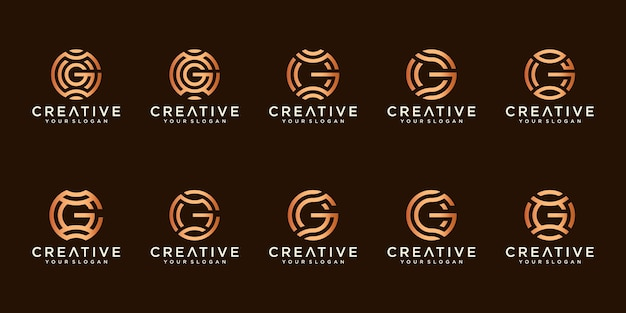 Zestaw kreatywnych logo litera g