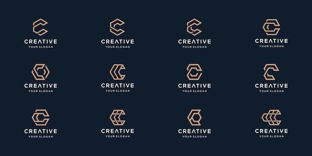 Zestaw kreatywnych logo litery c