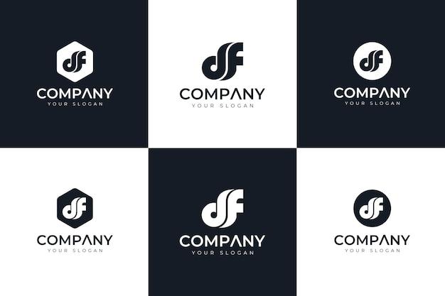 Zestaw kreatywnych logo litery df do wszystkich zastosowań