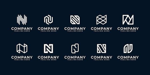 Zestaw kreatywnych logo litery n.