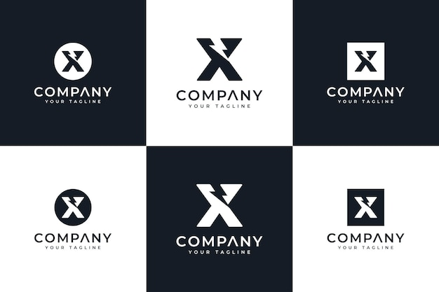 Zestaw kreatywnych logo litery x śruby do wszystkich zastosowań