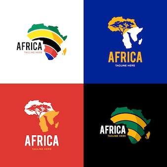 Zestaw kreatywnych logo mapy afryki